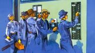 Werbung aus den 30er-Jahren: Arbeiter an einer Stempeluhr