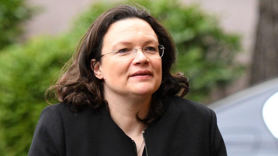 Arbeitsministerin Andrea Nahles (SPD) während der Trauerfeier des SPD-Politikers Horst Ehmke am 18. März.