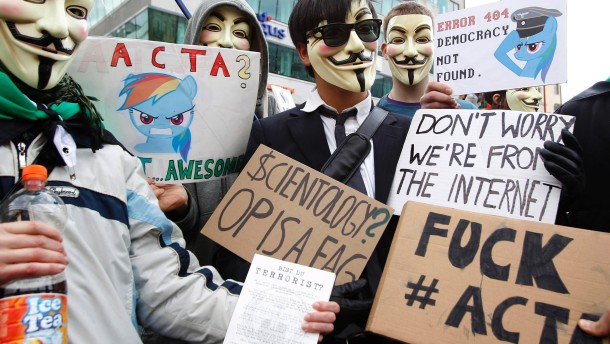 Protesters demonstrate against against ACTA in Vienna