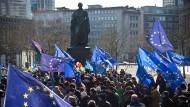 """Unter dem Motto """"Pulse of Europe"""" demonstrierten Menschen monatelang für Europa."""