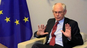 European Council President Van Rompuy gestures at start of meeting with Ireland's Prime Minister Kenny in Brussels
