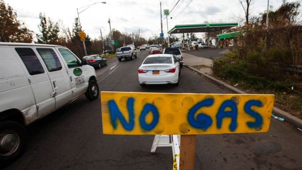 Cars wait in line for fuel at a gas station in Staten Island despite shortages following Hurricane Sandy, in New York
