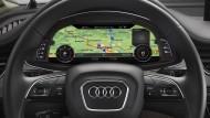 Eine HD-Karte im Cockpit eines Audi Q7 auf Basis der Daten von Here.