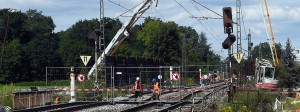 Baustelle des Bahntunnels Rastatt - hier haben sich die Bahngleise abgesenkt.