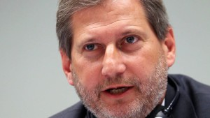 European Commissioner for Regional Policy, Johannes Hahn in Athen