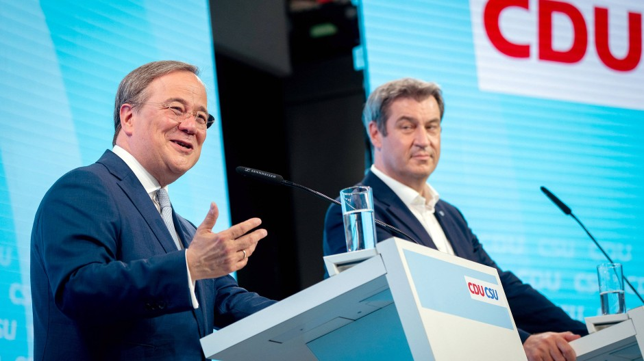 Gemeinsamer Kanzlerkandidat und CDU-Vorsitzender Armin Laschet stellt mit CSU-Chef Markus Söder das Wahlprogramm der Union vor.