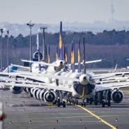 Abgestellt: Flugzeuge der Lufthansa stehen auf dem Rollfeld des Frankfurter Flughafens.
