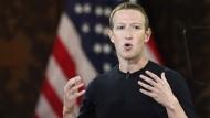 Mark Zuckerberg während seiner umstrittenen Rede an der Georgetown-Universität.