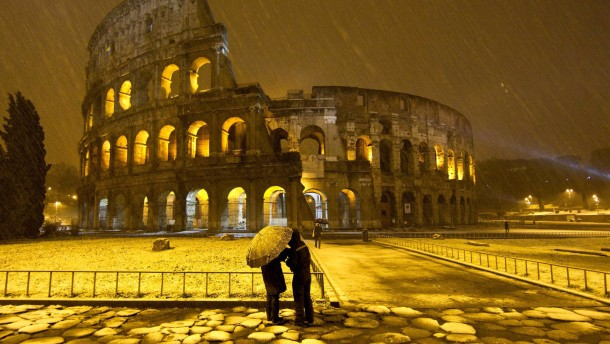 Colosseum in Rome during a snowfall
