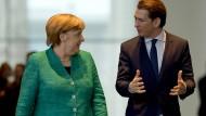 Haben ihre Kabinette unterschiedlich im Griff: Merkel und Kurz.