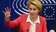 Bestätigt: Ursula von der Leyen vor dem EU-Parlament in Straßburg.