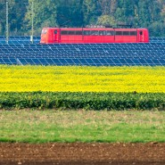 Ein strombetriebener Zug fährt bei Straubing an einer Solaranlage vorbei. Künftig will die Deutsche Bahn den Strom auch selbst erzeugen.