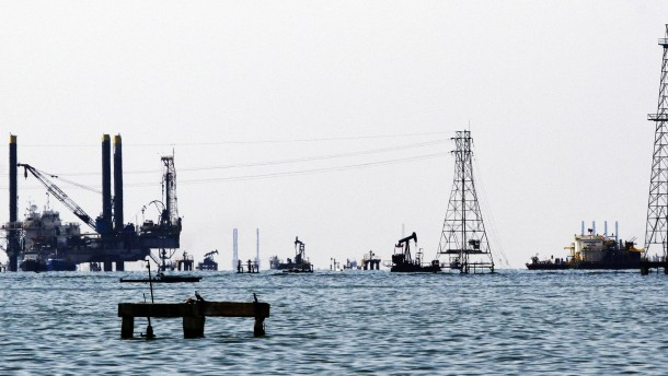 Oil rigs and platforms are seen at Maracaibo's lake near western city of Maracaibo