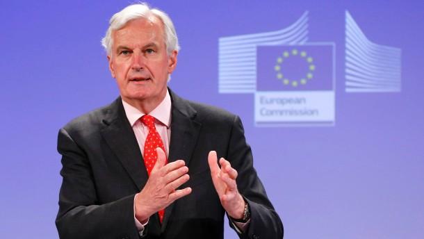 EU Commissioner for Internal Market and Services Barnier addresses a news conference in Brussels