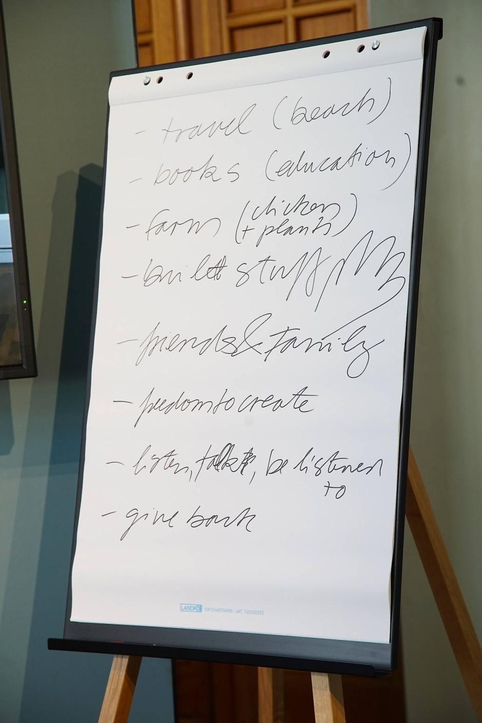 Ideenliste: Was die Workshopteilnehmer täten, wenn sie unendlich viel Geld hätten.