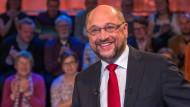 Martin Schulz in der ARD-Wahlarena am 18.09.17 in Lübeck.