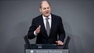 Olaf Scholz bei seiner Regierungserklärung im Bundestag
