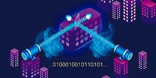 Schematischer Aufbau des Quantenexperiments in Schanghai.