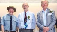 Medizin Nobelpreisträger 2017: Jeffrey C. Hall, Michael Rosbash und Michael W. Young (v. l.n.r). Das Foto wurde 2013 auf einer Veranstaltung an der Universität Hong Kong aufgenommen.