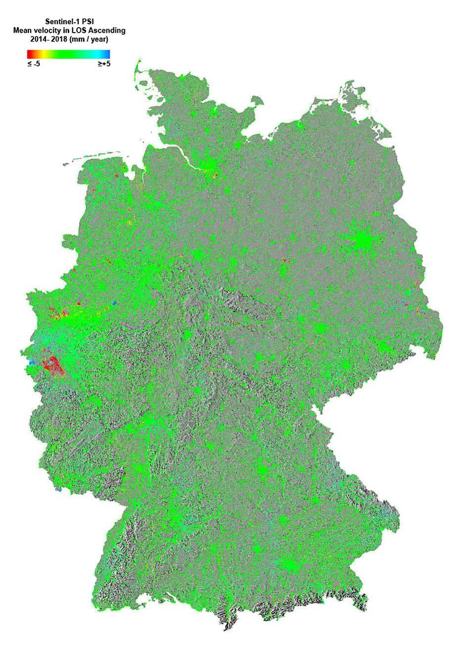 Deutschland ist ein stabiles Land – zumindest aus geologischer Sicht. Forscher des Bodenbewegungsdienstes der Bundesanstalt für Geowissenschaften und Rohstoffe (BGR) in Hannover haben nun auf der Basis von Messungen des europäischen Radarsatellitenpaares Sentinel-1 eine Karte der Hebungen und Senkungen des Bodens in Deutschland im Laufe der vergangenen vier Jahre erstellt. Die allergrößte Fläche erscheint auf dieser Karte in Grün, was bedeutet, dass keine vertikale Bodenbewegung gemessen werden konnte. Die Karte zeigt aber auch einige sehr kleine blaue Flecken, in denen sich der Boden um bis zu fünf Millimeter im Jahr gehoben hat. Bodensenkungen (in Rot und Gelb) gibt es hauptsächlich in Nordrhein-Westfalen. Sie sind eine direkte Folge des Bergbaus, etwa im Ruhrgebiet, wo noch bis vor kurzem Steinkohle unter Tage abgebaut wurde. Dort wurden Senkungsraten von fünf Millimetern pro Jahr gemessen. Die größte rote Fläche auf der Karte gibt es im äußersten Westen des Landes im Rheinischen Braunkohlerevier zwischen Köln und Aachen.