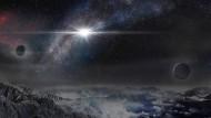 Künstlerische Darstellung der Supernova ASASSN-15lh, wie sie aus einer Entfernung von zehntausend Lichtjahren erscheinen würde.