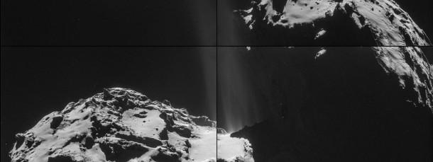 Das Bild zeigt einen stark ausgasenden Bereich am «Hals» des Kometen.