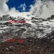 Der Stübel-Gletscher am Chimborazo hat sich seit 2015 (roter Pfeil) mehr als 150 Meter Höhenmeter zurückgezogen.