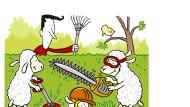 Schafe an der Kettensäge