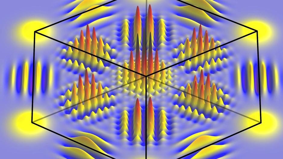 Dieses komplexe Interferenzmuster entsteht, wenn sich die Quantenzustände von drei Photonen gleichzeitig überlagern.