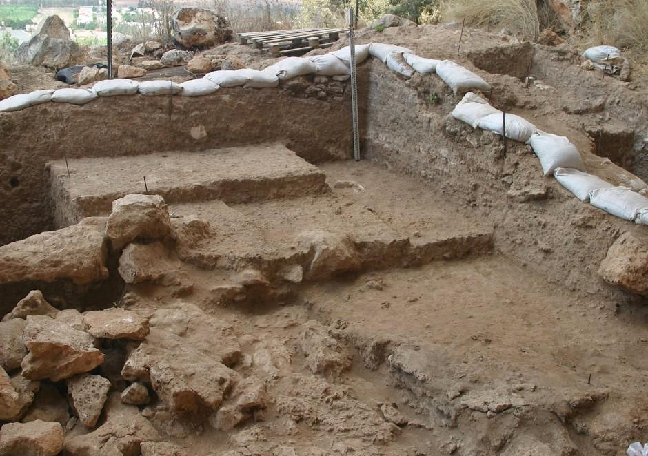 Ausgrabungsstelle in der Misliya-Höhle im Karmel-Gebirge südlich von Haifa