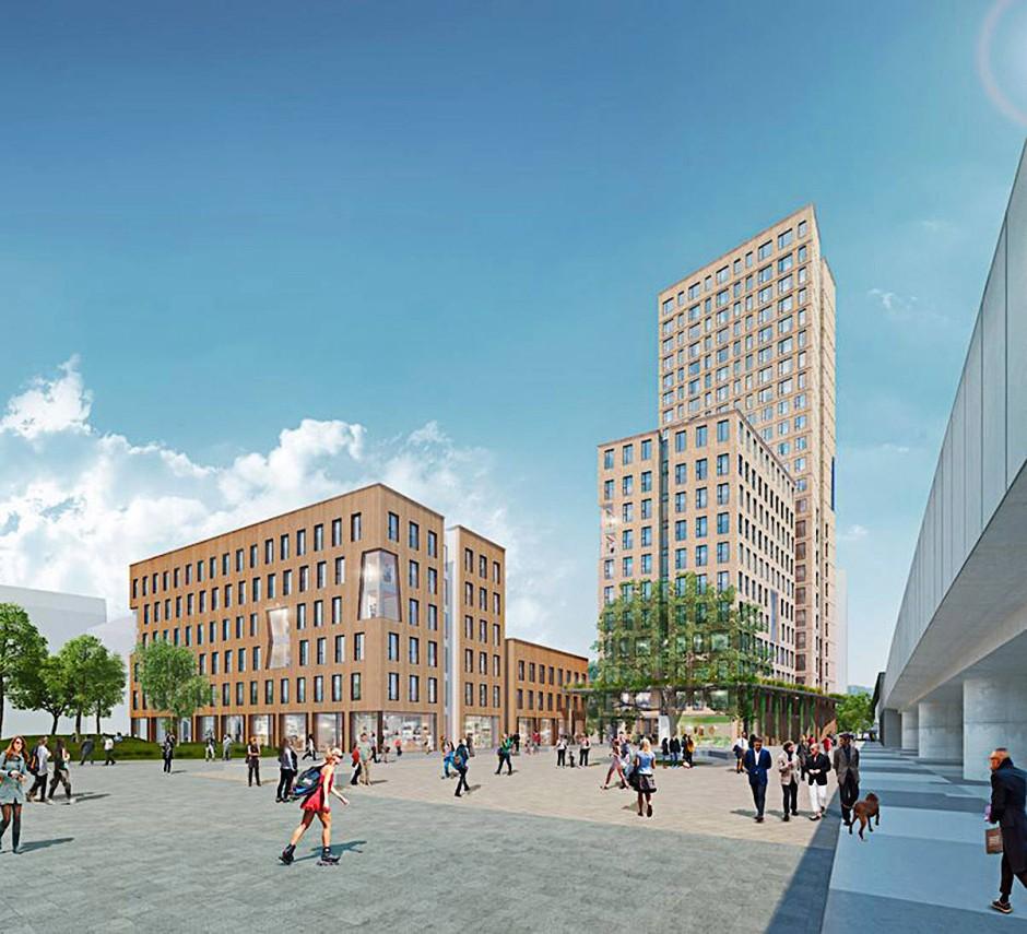 """Zukunft Holzbauweise? Das """"HoHo Wien"""", das 2019 fertig werden soll, könnte das weltweit erste 84 Meter hohe 24-stöckige Holzhochhaus werden."""