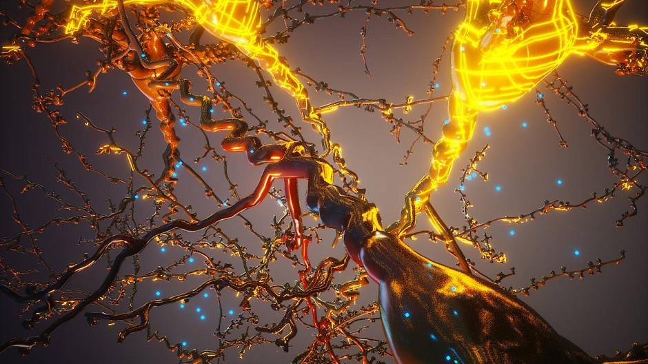 Elektroaktive Polymere (gold gefärbt) umhüllen und aktivieren zwei Neuronen (rechte Bildhälfte). Die blauen Punkte repräsentieren in dieser künstlerischen Darstellung die Monomere, aus denen sich die Polymere zusammensetzen.