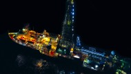"""Mit dem Forschungsschiff """"Joides"""" (Joint Oceanographic Institutions Deep Earth Sampler) wurden die Klimaarchive der Erdneuzeit erbohrt."""