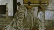 """Als """"die abgründige Schwermut eines fürchterlichen Umsonst"""" charakterisierte Friedrich Gundolf die """"Brutus-Stimmung"""" von Shakespeares Caesar-Tragödie. Max Klingers Gemälde """"Cäsars Tod"""", begonnen 1879, vollendet 1919, hängt im Leipziger Museum der Bildenden Künste."""