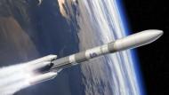 die neue Trägerrakete Ariane-6.4 mit vier Boostern