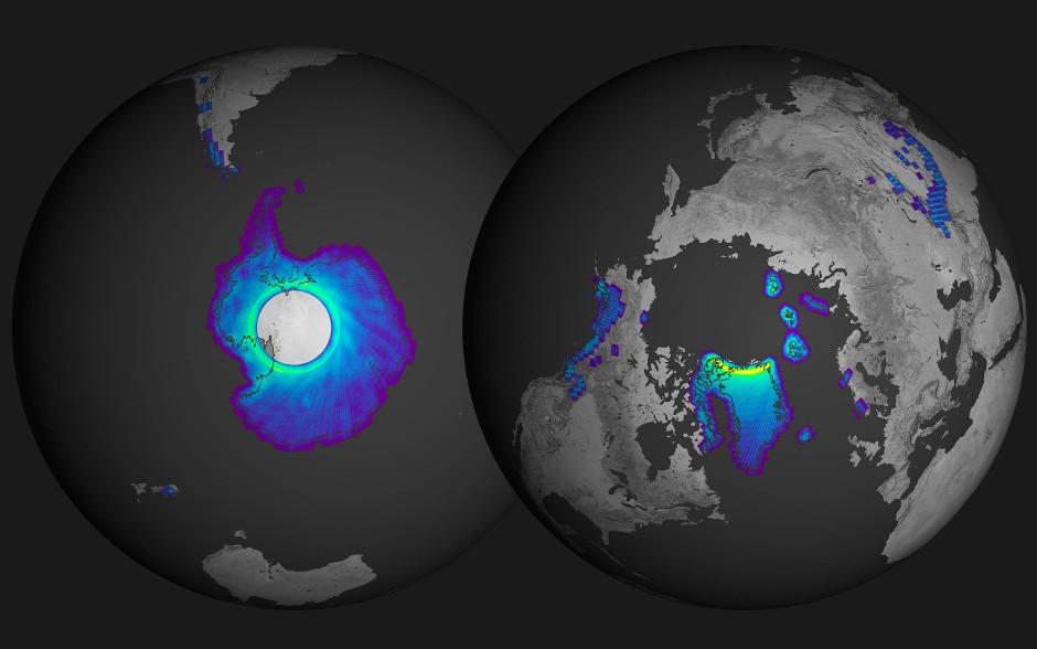 Satelliten haben auch alle großen Gletscher Alaskas, Kanadas und Grönlands sowie der Antarktis im Blick.