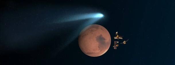 Komet C/2013 A1 Siding Spring Illustration des Rendezvous mit dem Mars am 19. Oktober 2014.
