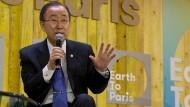 Un-Generalsekretär Ban Ki-moon auf dem Pariser Klimagipfel.
