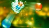 Die schwache Kernkraft spielt beim radioaktiven Beta-Zerfall eines Atomkerns eine Rolle.Ein Proton (rot)  wandelt sich in ein Neutron (blau) um.