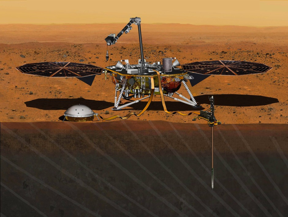 """Der Marslander """"Insight"""" und seine Gerätschaften als Illustration. Rechts ist das Instrument """"HP3"""" mit der  eingegrabenen Rammsonde zu erkennen"""