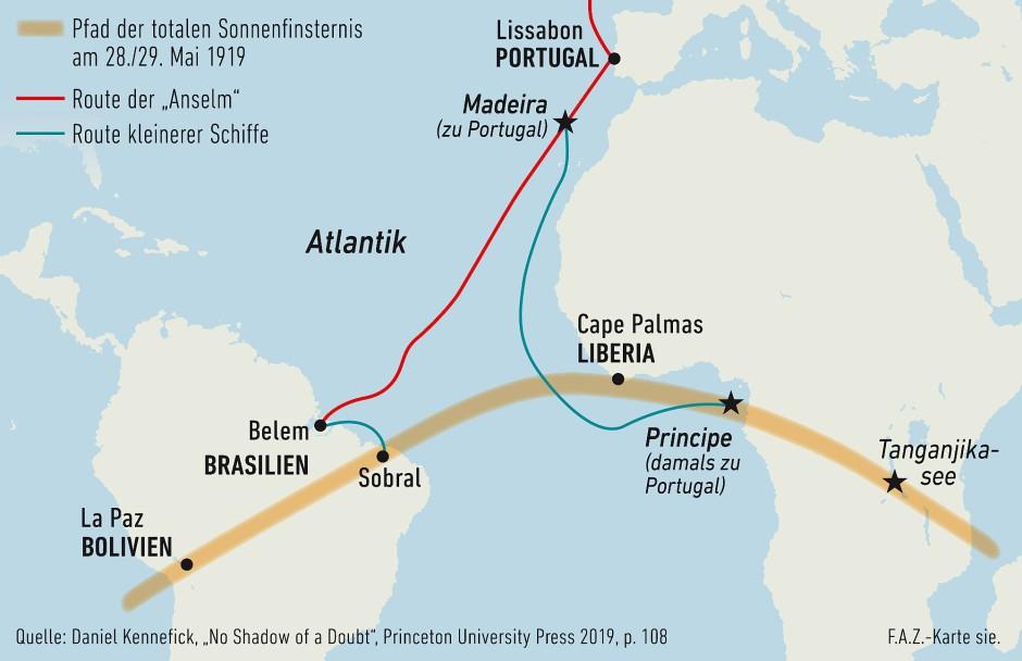 Der Kernschatten der Sonnenfinsternis zog über die Anden, den Atlantik und die größten Urwälder der Erde. Auch die beiden am Ende ausgewählten Beobachtungsorte, Sobral und die Insel Principe, waren kurz nach dem Ersten Weltkrieg nur mühsam zu erreichen.