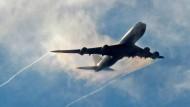 Schnappschuss über Offenbach: Flugzeug beim Landeanflug auf Rhein-Main