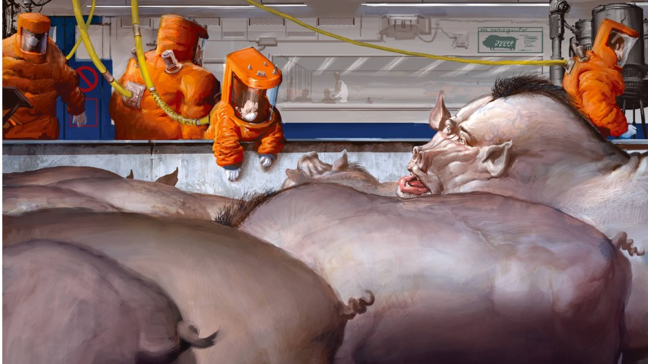 Im Roman sind die Organschweine allgegenwärtig. Menschliches Hirngewebe macht sie schlau, aber auch gefährlich.
