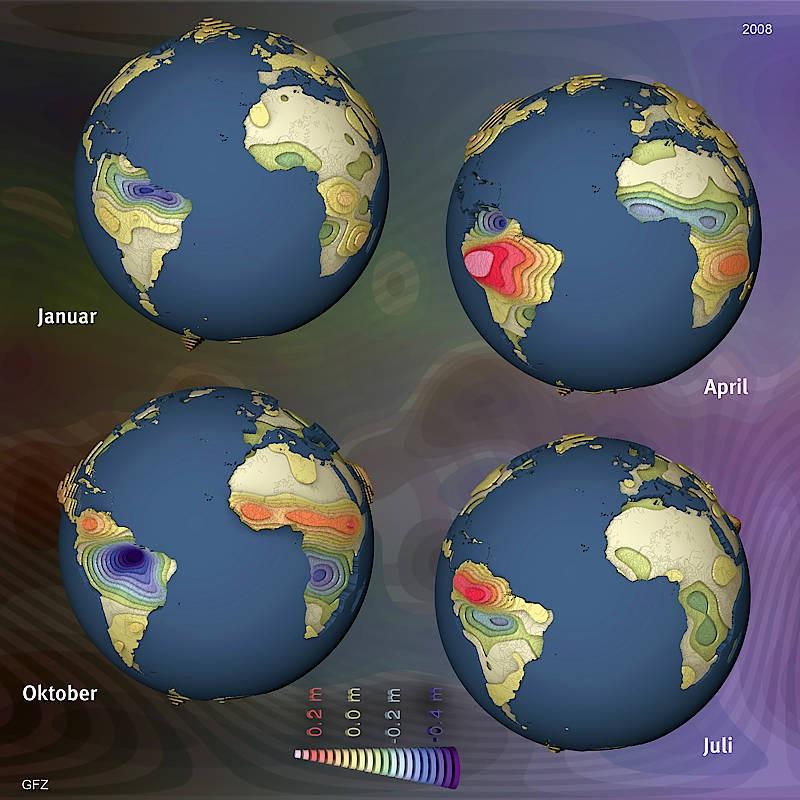 Beobachtungen der Grace-Satelliten zeigen die saisonalen Schwankungen im Wasserhaushalt. Die zeigen sich am deutlichsten im Amazonasgebiet.