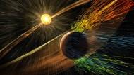 Illustration: Sonnenerruptionen  dünnen die Marsatmosphäre aus