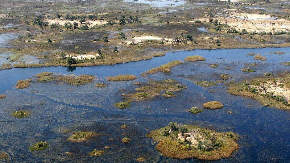 Das Okavango-Delta im Norden Botswanas.
