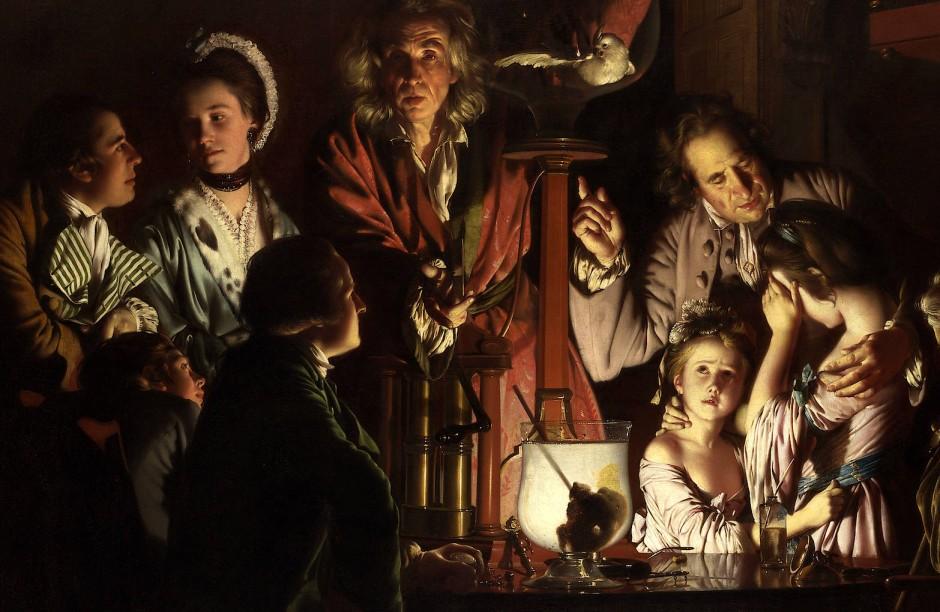"""Licht der Aufklärung: """"Das Experiment mit dem Vogel in der Luftpumpe"""" malte Joseph Wright of Derby 1767 oder 1768. Es ist eines der wenigen großen Kunstwerke, die sich mit dem heraufziehenden naturwissenschaftlichen Zeitalter befassen."""