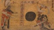 """Kickende Könige: Rechts kniet der Herrscher von Ik , um dem Fürsten von El Pajaral einen Ball von """"12 Handspannen"""" zurückzuspielen"""
