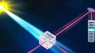 Photonen von der Sonne treffen mit Photonen eines Lasers in einem Strahlteiler zusammen.