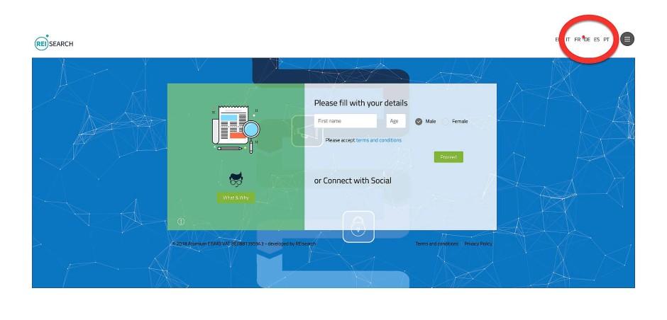 """Homepage von """"iNerd"""": Oben rechts können Sie sich durch einen Klick Ihre Sprache auswählen."""
